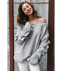 off shoulder long ruffle flare sleeve loose wide boat neck pullover knit sweater