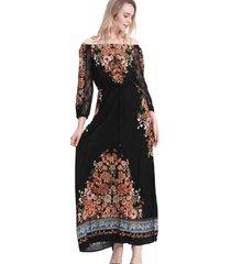 vestido largo flores negro nicopoly