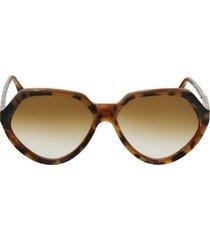 victoria beckham 60mm gradient rectangle sunglasses in havana/horn at nordstrom