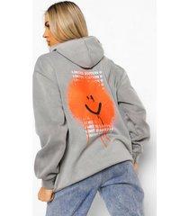 acid wash gebleekte oversized hoodie met rugopdruk, charcoal