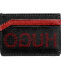 hugo men's record leather logo card case