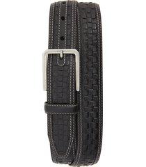 men's johnston & murphy woven leather belt, size 34 - black