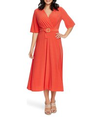 women's chaus belted faux wrap midi dress, size medium - red