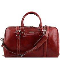 tuscany leather tl1014 berlino - borsa da viaggio in pelle con fibbie - misura piccola rosso