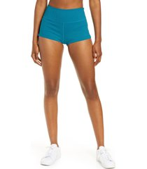 women's free people fp movement settle in the court high waist rib shorts, size large - blue