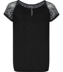 maglia con maniche corte in pizzo (nero) - bodyflirt