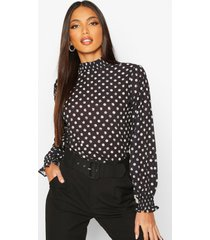 blouse met hoge hals en stippen, zwart