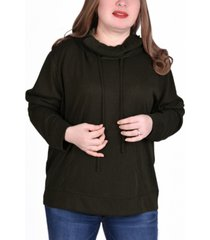 ny collection women's plus size long sleeve burnout hoodie