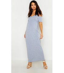 maternity cold shoulder maxi dress, light grey
