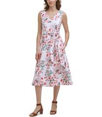 calvin klein petite floral-print v-neck belted midi dress