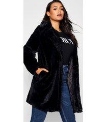 plus faux fur jas met kraag, zwart