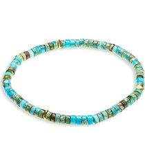 jean claude men's agate, turquoise & jade randel stretch bracelet
