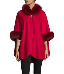 dyed fox fur-trim cape