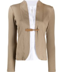 fabiana filippi fitted buckle fastening cardigan - brown