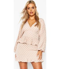plus polka dot ruffle skater dress, taupe