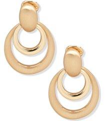 anne klein gold-tone doorknocker clip-on earrings