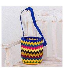 crocheted cotton bucket bag, 'lively' (guatemala)