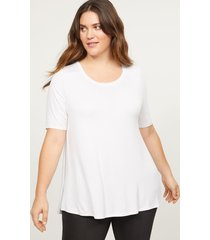 lane bryant women's perfect sleeve swing tee with shirred shoulders 26/28 white