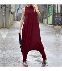 zanzea mono sin mangas con cuello redondo para mujer entrepierna mono romper catsuit tops plus -rojo