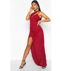 one shoulder maxi dress, berry