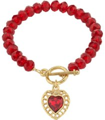 2028 gold-tone beaded heart charm toggle bracelet