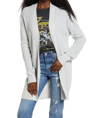 women's bp. open stitch cardigan, size medium - grey