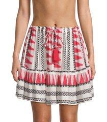 elan women's geo-print drawstring skirt - red multicolor - size xs