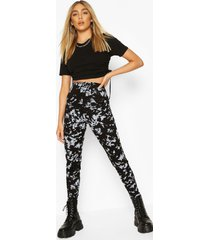 acid wash legging, black
