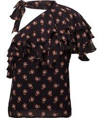 ginna blouse korte mouwen zwart custommade