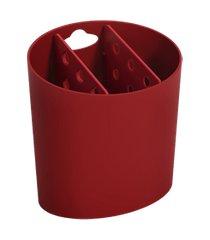 escorredor de talheres oval basic 13,8 x 10,5 x 14,4 cm vermelho bold coza vermelho