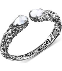 carolyn pollock mother-of-pearl doublet hinged cuff bracelet