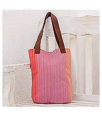leather accent cotton tote bag, 'beach bright' (guatemala)
