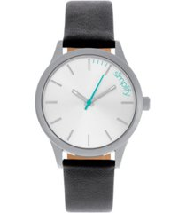 simplify quartz the 2400 silver dial, genuine black leather watch 42mm