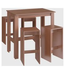 conjunto mesa bancada 4 banqueta alta ceramic móveis cançáo marrom