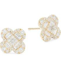 diana m jewels women's 14k yellow gold & 1.3 tcw diamond stud earrings