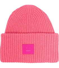 acne studios ribbed-knit beanie - pink