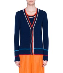 women's akris punto stripe ribbed stretch merino wool cardigan, size 8 - blue
