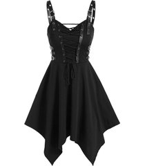 buckle strap lace-up handkerchief gothic dress
