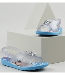 sandália infantil ipanema frozen transparente com glitter azul claro
