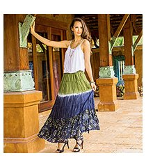 cotton batik skirt, 'festive summer in olive' (thailand)