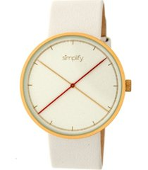 simplify quartz the 4100 gold case, genuine white leather watch 43mm