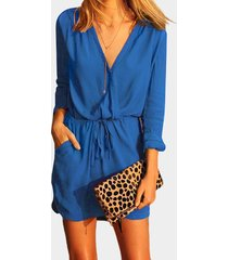 blue v-neck drawstring waist 3/4 length sleeves wrap dress with see-through design