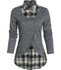 plaid print curved hem overlap faux twinset sweater