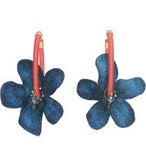 aretes flores cayenas mini azúl- atalí