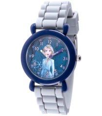 disney frozen 2 elsa girl's blue plastic time teacher watch 32mm