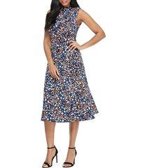 women's maggy london print tie neck fit & flare dress