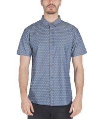 sovereign code men's antz regular-fit textured geo-print chambray shirt