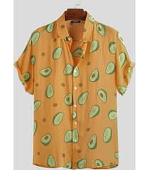 incerun hombre manga corta con estampado de aguacate camisa