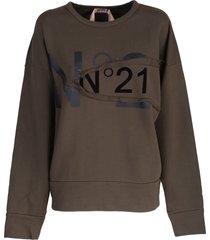 n.21 n ° 21 cropped cotton sweatshirt, military green