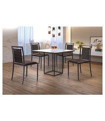 conjunto de mesa de jantar hera com tampo  de vidro mocaccino e 4 cadeiras grécia i couríssimo marrom e grafite